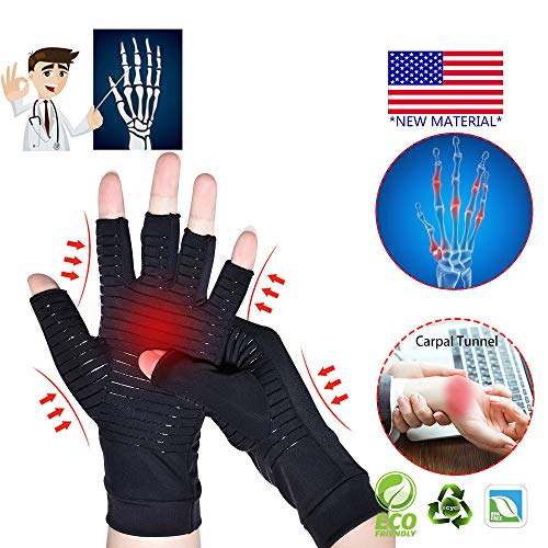 Copper Arthritis Gloves, New Material, Copper Compression for Arthritis Pain Relief Rheumatoid Osteoarthritis and Carpal Tunnel, Premium Compression  Fingerless Gloves for Typing and Daily Work