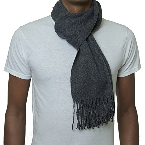 Alpine Swiss Mens Plaid Scarf Soft Winter Scarves Unisex,Solid Gray,One Size