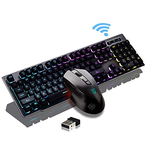 Onlywe Rechargeable Keyboard and Mouse 2.4G Wireless 104 Keys Mechanical Feel Backlit Gaming Keyboard Mouse Combo for Windows/XP/7/8/10/Vista/Mac/Linux
