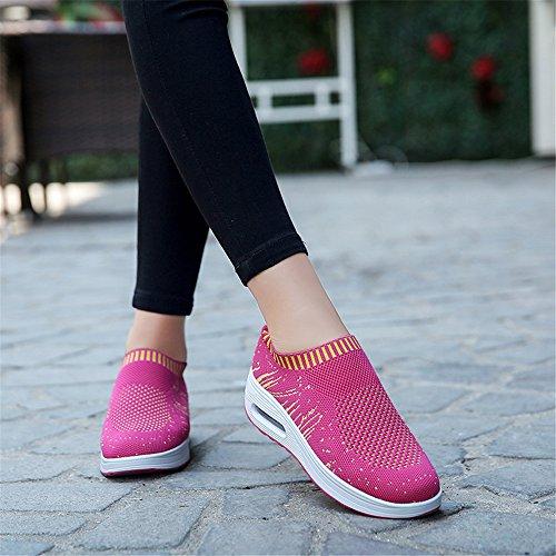 Schuhe Breathable Webart Damen Turnschuh DADAZE Greifen Wanderschuhe Ineinander Athletische Fliegen Laufender Turnschuhe Paar Rot beiläufige EIN Rose Laufschuhe der Fitness xI77Cqnfvw