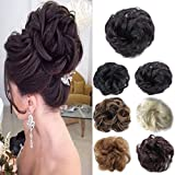 Messy Bun Scrunchies Hair Pieces for Women Ponytail Wavy Curly Donut Hair Extensions (Off Black #2)