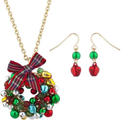 (Lux Accessories Gold Tone Jingle Bell Christmas Xmas Wreath Necklace Earring Set)