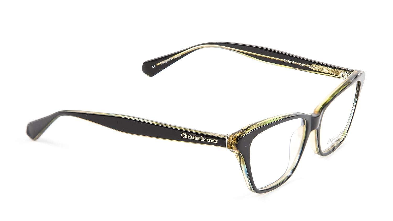 a1f597d30341 Christian LaCroix Rectangular Eyglass Frames CL1054 53mm Black at Amazon  Women s Clothing store