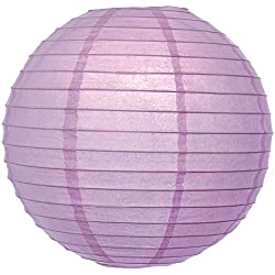 Luna Bazaar Premium Paper Lantern Lamp Shade (18-Inch, Parallel Ribbed, Lilac Purple) - Chinese/Japanese Hanging Decoration - For Parties, Weddings, and Homes