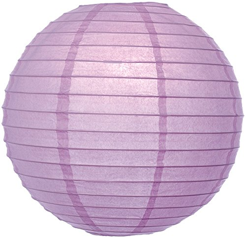 (Luna Bazaar Premium Paper Lantern Lamp Shade (10-Inch, Parallel Style Ribbed, Lilac Purple) - Chinese/Japanese Hanging Decoration - For Parties, Weddings, and Homes)