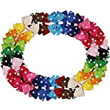 "QtGirl 30 Pieces 3.5"" Polka Dot Ribbon Pinwheel Hair Bows for Girls"