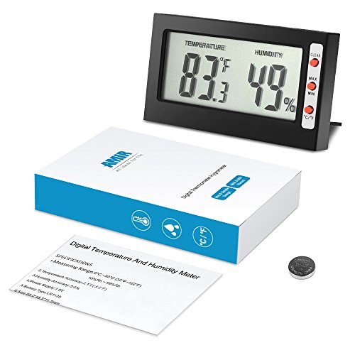 AMIR Indoor Digital Thermometer Hygrometer, Mini Temperature and Humidity Monitor - Instant-Read Big LCD Display, °C/°F Switchable with MIN/MAX Records - Perfect for Home, Car, Etc. (Black)
