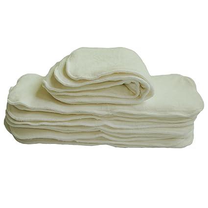 Alvababy pañales de tela con 4 capas de fibra de bambú antibacteriana fuerte absorbente 12pcs 12MB