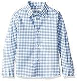 Calvin Klein Big Boys'  Long Sleeve Plaid Button-Down Dress Shirt, Ocean View, 6