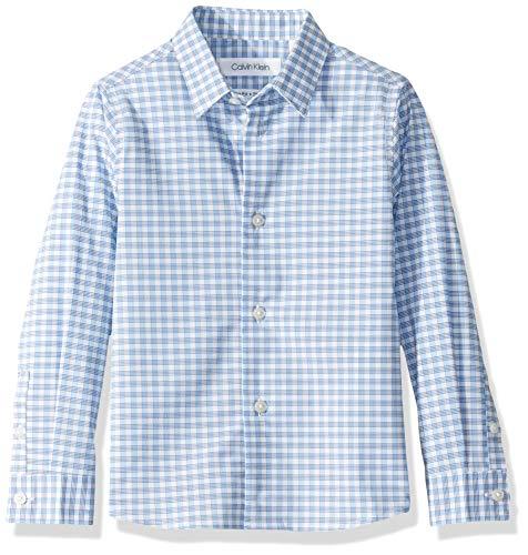 Calvin Klein Big Boys'  Long Sleeve Plaid Button-Down Dress Shirt, Ocean View, 5