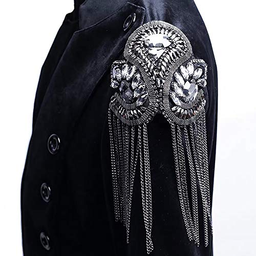 Rhinestones Beaded Crystal Motifs Chain Fringe Patches for Clothing Shoulder Badge Sew on Garment DIY Craft ()