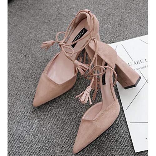 amp; Basic Spring Comfort Chunky Heel Shoes Polyurethane Black Pump ZHZNVX Pink Women's Fall PU Heels Black IxwqpW8SX