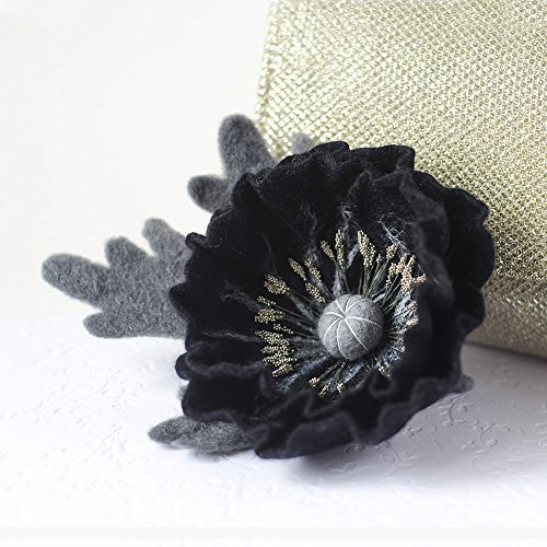 (Handmade Black Poppy Brooch Felted Flower Pin Black Flower Jewelry Monochrome jewelry Felt Flower pin Wool Poppy brooch Black broach Gift for Mother Birthday gift for women )