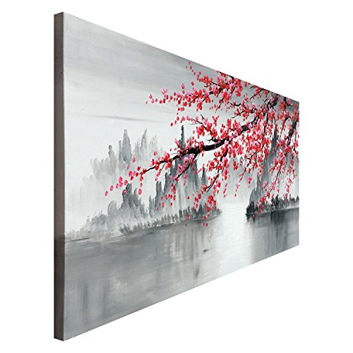 Traditional Chinese Painting Hand Painted Plum Blossom Canvas Wall Art Modern Black and White Landscape Oil Painting for Living Room Bedroom Office Decoration (48x24 inch)