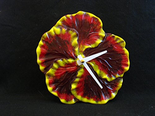 Hibiscus Flower Clock, Red Flower Clock, Fused Glass Clock, Yellow