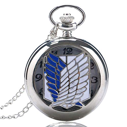 Dragon and Phoenix Play Beads Men's Pocket Watch, Chinese Dragon Phoenix Slim Pocket Watch, Chain Fortune Symbol Special Gift for Men (Wings)