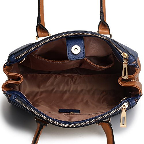 V PU Long Patchwork Open Pockets Miss Style Shoulder navy Tote With a Inner Zip Handbags Strap Women Bags Two And Lulu 8wqUS0wX