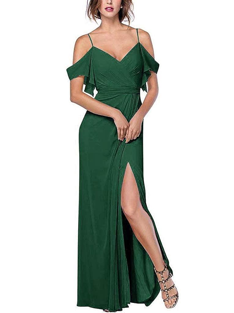 DarkGreen RTTUTED Women's Spaghetti Strap Slit Bridesmaid Dresses Long Evening Formal Gown