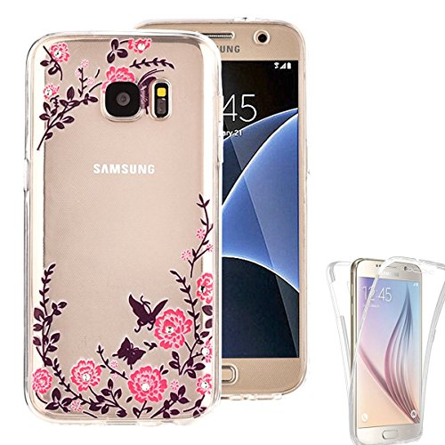 Samsung Galaxy S7 Edge Case, AMASELL [Full-Body Coverage] Scratch-Resistant Soft Crystal Protective TPU Silicone Rubber Cover with Bling Butterfly Garden Flower, Bling Clear