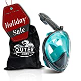 Outer Limits Full Face Snorkel Mask Adult - Action Camera Mount Snorkel Set - 180° Panoramic View - Bubble Design with Longer Snorkel