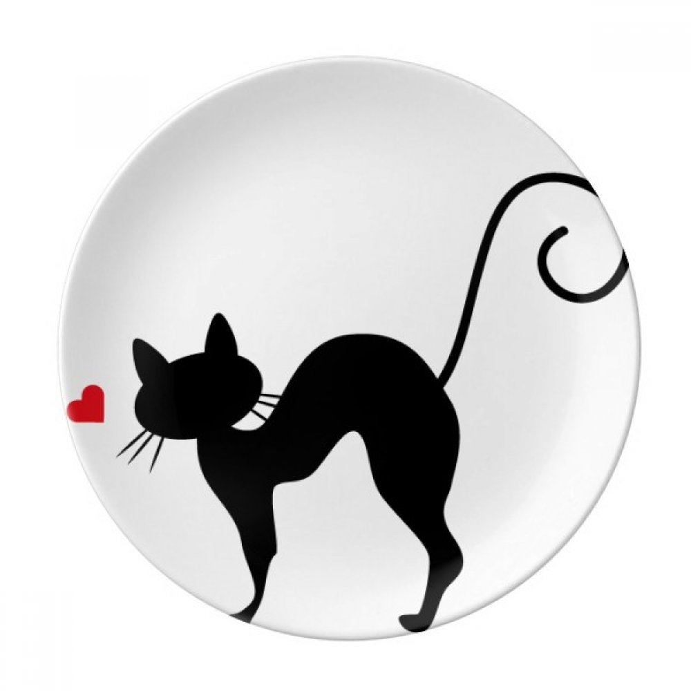 Animal Heart-shape Cat Sihouette Dessert Plate Decorative Porcelain 8 inch Dinner Home