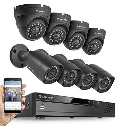 Amcrest Full-HD 1080P 8CH Video Security System w/ Eight 2.0MP (1920TVL) Outdoor IP67 Bullet & Dome Cameras, 66ft Night Vision, Hard Drive Not Included, (AMDV10818-4B4D-B) by Amcrest