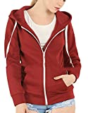 Nanquan-women clothes NQ Womens Plus Size Basic Zip up Hoodie Fleece Jacket Sweatshirt Red US S