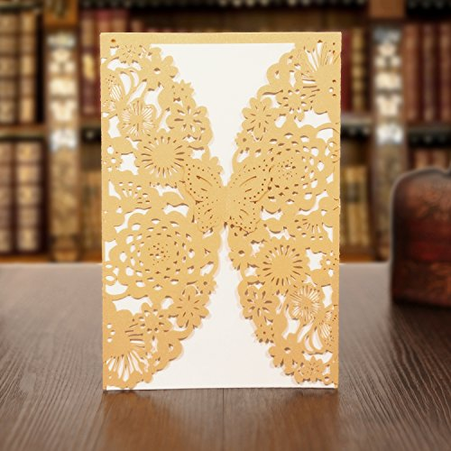 KAZIPA 25 Pack Set Laser Cut Invitation Cards, Lace Invitation Kit for Wedding Anniversary Bridal Shower Birthday with Printable Paper and Envelopes(Gold+White)