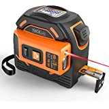 Laser Tape Measure 2-in-1, Laser Measure 131 Ft, Tape Measure 16 Ft Metric and Inches with LCD Digital Display, Magnetic Hook, Screwdriver, Nylon Coating for DIY, Construction - TM-L01