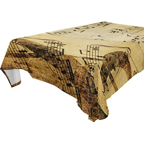 Table Cloth Music Note Vintage Rectangle/Oblong Polyester Tablecloth Washable Table Cover for Holiday Dinner, Wedding, Restaurant Party ()
