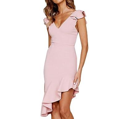 de279142b71 Amazon.com  general3 Women Sheath Dress Elegant V-Neck Sleeveless Dinner Evening  Party Ruffle Knee Length Bodycon Pencil Dress  Clothing