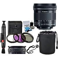 Canon EF-S 10-18mm f/4.5-5.6 IS STM Lens for DSLR Cameras + 3 Piece Filter Kit + Lens Band + Soft Lens Pouch + Lens Cleaning Pen + 5 Piece Cleaning Kit + Lens Cap Holder + Deluxe Lens Accessory Bundle