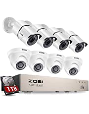 $254 » ZOSI 8CH 1080P PoE Home Security Camera System with Hard Drive 1TB,H.265+ 8Channel 5MP NVR Recorder,8pcs Wired 1080P Outdoor Indoor PoE IP CCTV Cameras with Night Vision, Motion Alert, Remote Access
