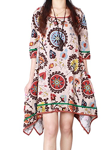 MISSLOOK Women's Vintage Floral Print Boho Asymmetrical Short Tunic Dress - Gray XXL