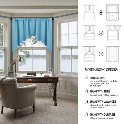 Nicetown Blackout Kitchen Tier Curtains Tailored Scalloped