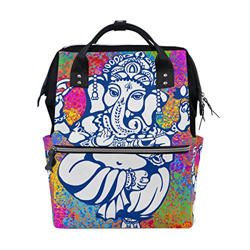 Ganesh Ganesha Mommy Bag Mother bag Travel Backpack Diaper Bag Daypack Nappy Bags for Baby Care Large Capacity (Hanging Vinyl Large Capacity)
