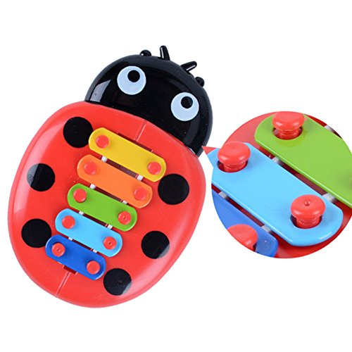 Ladybug Wooden Xylophone with 5 Bright Multicolored Keys with Child-Safe Wooden Mallets Portable Music Toys for Kids Baby -
