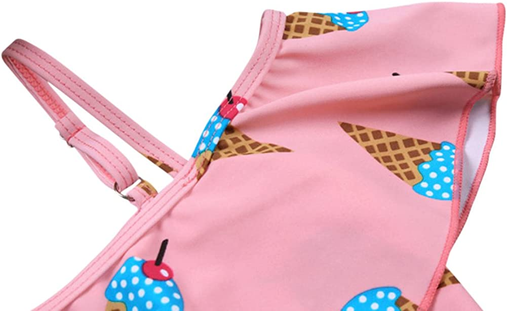 Tortor 1Bacha Baby Girls Cute Swimsuits Pink Two Piece Cake Printed Skirt Swimwear Sets 9-15T
