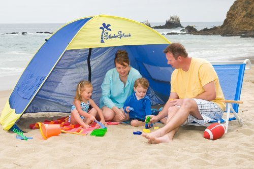 Shade Shack Instant Pop Up Family Beach Tent and Sun Shelter, Blue/Yellow