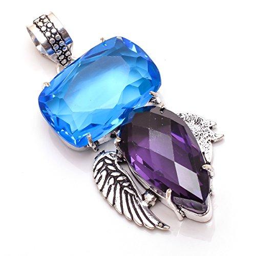 925 Sterling Silver Overlay Pendant, Amethyst Quartz, Blue Quartz Gemstone Handmade Fashion Jewelry (Blue Quartz Pendant)