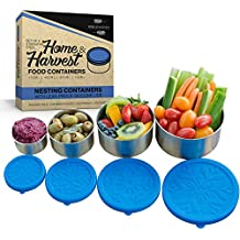 Stainless Steel Food Storage Containers by Home & Harvest   Set of 4 with Leak-Proof Silicone Lids
