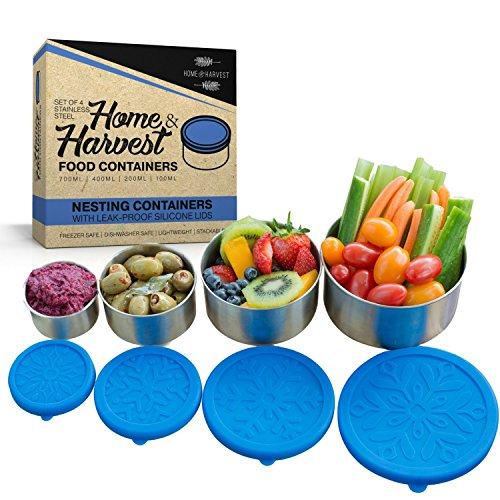 Stainless Steel Food Storage Containers by Home & Harvest | Set of 4 with Leak-Proof Silicone ()