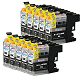 10 Pack - Compatible Ink Cartridges for Brother LC-103 LC-101 LC-103XL LC-103BK Black Inkjet Cartridge Compatible With Brother DCP-J152W MFC-J245 MFC-J285DW MFC-J4310DW MFC-J4410DW MFC-J450DW MFC-J4510DW MFC-J4610DW MFC-J470DW MFC-J4710DW MFC-J475DW