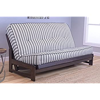 Colorado Reclaim Mocha Frame and Mattress Set w/ Choice of Fabrics, 7 Inch Innerspring Futon Sofa Bed Full Size Aspen Style (Frame w/ Cozumel Navy)