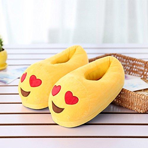 Vrouwen Emoji Katoen Indoor Slippers Cartoon Pluche Slaapkamer Vloer Schoenen Enkellaarsjes Hartvormige Ogen