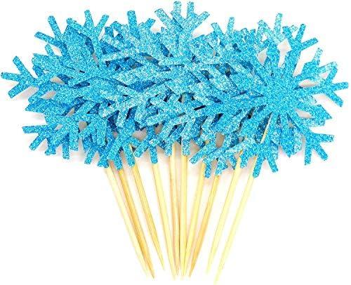 PuTwo Cupcake-Topper für Hochzeitstorten/Cupcakes, 20 Stück, silberfarben/Blau/Schnee