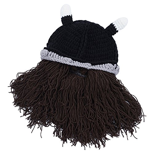 wocharm Men Kids Winter Costume Cool Beard Wig Hats Handmade Knit Warm Knit Caps (Brown Beard Beanie)