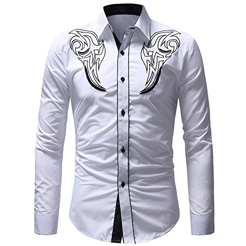 Funnygals - Men's Western Shirts Long Sleeve Slim Fit Embroideres Cowboy Casual Button Down Shirt White ()