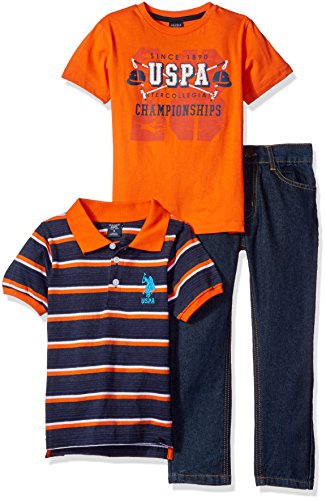 U.S. Polo Assn. Little Boys' Toddler Striped Shirt, Screen Printed T-Shirt and Denim Jean, Orange/Blue, 3T (Embroidered Orange Creeper)