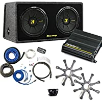 Kicker Bass package - Dual 12 CompS in a ported box with CX600.1 amplifier, wiring kit, grilles, and bass knob.